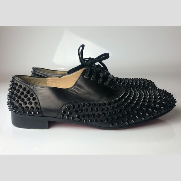 new concept daa95 4db1f Christian Louboutin Freddy Spikes Lace-Up Flat 43